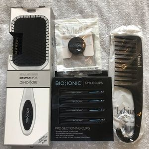 Brush, clips, detangler comb and phone pin set